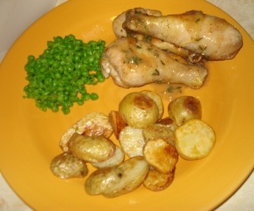 Chicken with Potatoes and Mashed Peas
