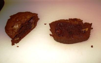 Warm Double-Chocolate Brownie Cakes - Halved
