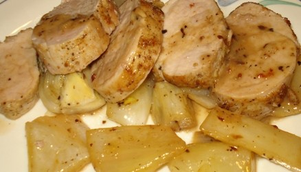 Plated Pork Tenderloin with Roasted Fennel