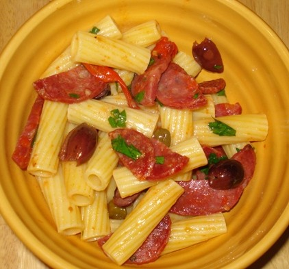rigatoni-with-spicy-italian-salami-cherry-tomatoes-olives-capers