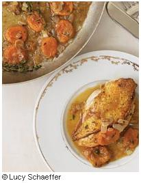 F&W Chicken with Apricot-Onion Pan Sauce