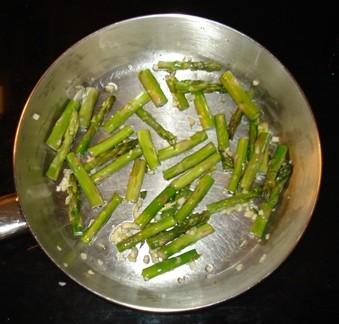Sauteeing Asparagus & Garlic