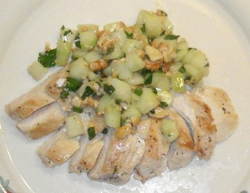 Sauteed Chicken Breasts with Cucumber Salad