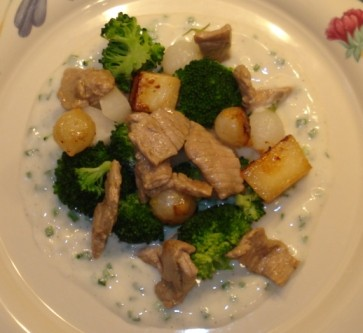 Sauteed Veal with Yogurt Chive Sauce