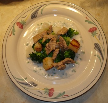 Sauteed Veal with Yogurt-Chive Sauce