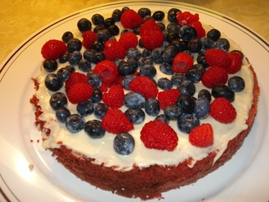 First Cake Layer - with berries & cream cheese frosting