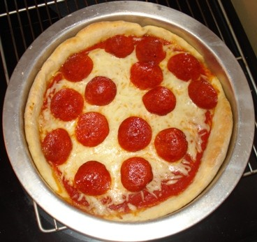Baked Pepperoni Pan Pizza