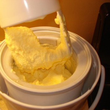 Orange Sherbet in Ice Cream Maker