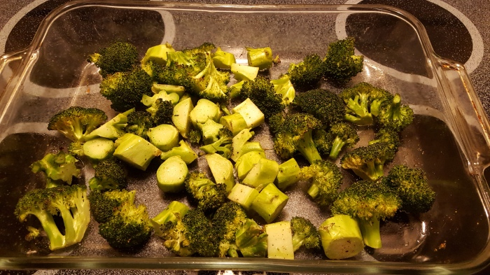 photo of baking dish with roasted broccoli